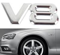 Wholesale 3d auto metal car stickers - 3D Metal V8 Car Sticker Emblem Badge Sticker Decal Silver Sticker Auto Car Styling EEA259 80PCS