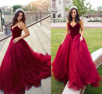 Wholesale cheap boned corsets - Sweet 16 Dark Red Quinceanera Dresses 2018 Sweetheart Puffy Corset Back Ball Gown Princess 15 Years Girls Prom Party Gowns Cheap Customized