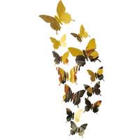 kelebek mutfak dekor toptan satış-Duvar Çıkartmaları Çıkartması Kelebekler 3D Ayna Duvar Sanat Ev Dekorları için oturma odası, yatak odası, mutfak, tuvalet, ve Şenlikli düğün decora