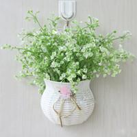 ingrosso muro di giglio-All'ingrosso-artificiale valle giglio Bouquet Gypsophila piante artificiali di plastica Lily of the Valley Flower Wedding Wall decorativo