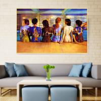 çıplak kadın yağlıboya sanatsal boyalar toptan satış-Soyut yağlıboya Kadınlar Çıplak Arka Graffiti Posterler Yüzme Havuzu Duvar Boyama Tuval Sanat Baskı Modern Dekorasyon Ev Dekor