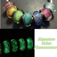 Wholesale fluorescence bead resale online - 7pcs Sterling Silver Thread Lampwork Fluorescence Murano Glass Loose Beads Fit European Pandora DIY Bracelet Necklace m31