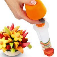 forma de flor al por mayor-Nuevo diseño Un conjunto de mini herramientas de pastel de escultura de alimentos para tallar frutas para la cocina Bar de comedor Accesorios de cocina Suministros para regalo Forma de flor