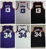 venta al por mayor al por mayor-Hombres # 34 Charles Barkley Jersey # 13 Steve Nash Jersey cosido Barkley Nash Baloncesto Jerseys Barato al por mayor Envío de la gota
