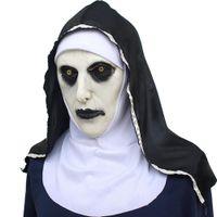 хэллоуин женское лицо маски латекс оптовых-Halloween Masquerade Dress лицевая крышка Взрослые Латексная Монахиня Маска Испуганный Женский Лицо Парик Хэллоуин Декор