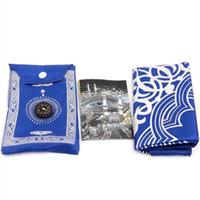 gummiboden verkauf großhandel-100 * 60 cm Muslimischen Gebetsteppich Durable Gebet Matte Glauben Tragbare Wasserdicht mit Kompass Bequem