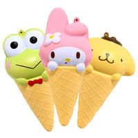 Wholesale ice rabbit - Cartoon Rabbit Ice Cream Squishy Phone Straps Charm Pendant Jumbo New Simulation Food Squishies Decompression Toys 11 9ys C