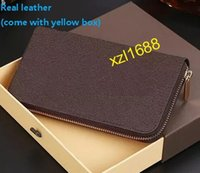 Wholesale Drop Ship Wallet - Top AAAAA quality Free Shipping! Fashion designer clutch Genuine leather wallet with dust bag 60015 60017 box zipper purses drop ship