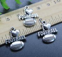 18 mm küpeler toptan satış-Toptan 30 adet I LOVE Futbol Alaşım Charms Kolye Retro Takı Yapımı DIY Anahtarlık Antik Gümüş Kolye Bilezik Küpe Için 20 * 18mm