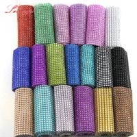 Wholesale crafting ribbons - 1Yard Lot Colorful Mesh Trim Bling Diamond Wrap Cake Roll Tulle Crystal Ribbon DIY Crafts Home Garden Wedding Party Decoration