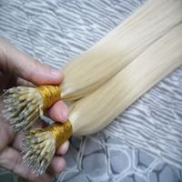 ingrosso 18 estensioni dei capelli umane bionde-100s Remy Micro Beads Estensioni capelli umani Europeo 14 colori Capelli vergini peruviani Nero Marrone Capelli biondi Piano nano Capelli 100g