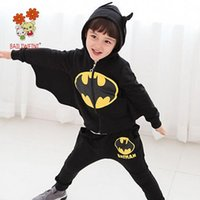 Wholesale Baby Costume Wings - 2018 Spring Batman Costume 2PCS Baby Boys Set Chivalrous Suit Hooded Zipper Top Wing Sleeve And Long Pants Children Garment Korean Boutique