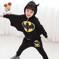 Wholesale Boys Batman Tops - 2018 Spring Batman Costume 2PCS Baby Boys Set Chivalrous Suit Hooded Zipper Top Wing Sleeve And Long Pants Children Garment Korean Boutique