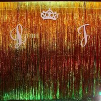 FENGRISE 1x2 3m Gold Foil Fringe Curtain Tinsel String Shiny Shimmer Party Wedding Birthday Door Decoration Photo Booth Backdrop