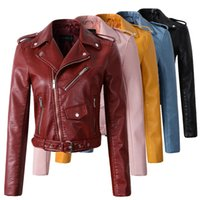 Wholesale Wine Leather Jacket - 2018 New Fashion Women Autunm Winter Wine Red Faux Leather Jackets Lady Bomber Motorcycle Cool Outerwear Coat with Belt Hot Sale