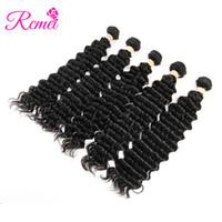 уток для волос оптовых-Rcmei Перуанские человеческие волосы Deep Wave Weave Bundles 5шт. Естественная машина для укладки волос Remy Double Weft 8-28inch Hair Extensions No Tangle