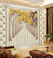 Wholesale hotels building - Customize Photo 3D Curtains European-style Roman column Living room Bedroom Blackout Window Curtain