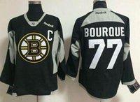 jersey negro de la práctica del hockey al por mayor-Los mejores nuevos Boston Bruins # 77 Ray Bourque Black Practice Stitched hockey Jersey para hombres en línea