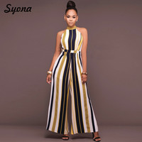 3da9920209 2018 WOMENS Culotte JUMPSUIT ROMPERS Formal Office Party Wide Leg Pants  Elegant Baggy Overalls Striped Palazzo Loose Summer 2XL