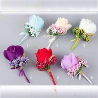 bräutigam männer corsage großhandel-2019 Bräutigam Accessoires 6 Farben Trauzeuge Seidenblume Brautjungfer Rose Seiden Corsage Gentleman Rose Boutonniere Brautsträuße günstig