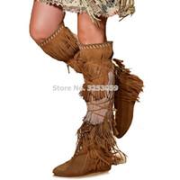 ingrosso scarpe marrone gladiatore-ALMUDENA Classic Blue Sude Fringe Stivali al ginocchio con lacci Tacco basso Tacco basso Scarpe con nappa Stivali lunghi Celebrity Gladiator Shoes