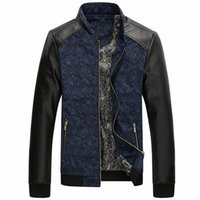 Wholesale casual spring leather jackets resale online - Spring Men Motorcycle Jacket Mens Fashion Leather Zipper Jacket Patchwork Stand Collar Autumn Warm Coat Outerwear M XL