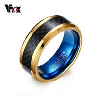 siyah tungsten karbür halkalar toptan satış-Vnox 8 MM Mavi Tungsten Karbür Yüzük Erkekler için Takı ile Siyah Karbon Fiber Y1891908
