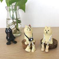 zakka animals venda por atacado-Urso do gato Em Miniatura estatueta Japão Zakka Animal Decoração Mini Fada Do Jardim Da Resina artesanato presente brinquedo Ornamento