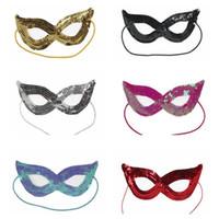 ingrosso abiti da gatto per le donne-Paillettes Maschera di Halloween Masquerade Sexy Woman Eye Mask Fancy Dress Charme Cat Party Natale XMAS Boutique maschera HH7-1339