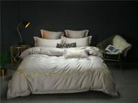 juegos de hoja gris tamaño gris al por mayor-IvaRose Grey color Embroidery Sheet funda de almohada y edredón Sets 100% ropa de cama de algodón egipcio Queen juego de cama King Size