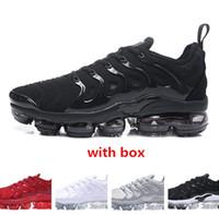 sapatos de corrida para homens tn venda por atacado-2018 tn mais branco metálico de prata triplo dos homens negros Running Shoes com caixa de tn mais instrutor sapatilha transporte livre