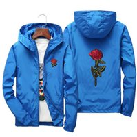 Wholesale Parents Children S Clothing - Men's Rose Embroidery Spring Thin Windproof Outdoor Jacket Parent-Child Clothing Couples Style Simple Fashion Large Size Sports Jacket