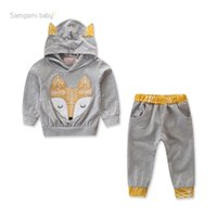 Wholesale korean style casual clothing for sale - Baby Boy Hooded Outfits Newborn Designer Clothes Suits Printed Eye Closed Fox Patchwork Long Sleeve Korean Style Casual Pants Pullover T