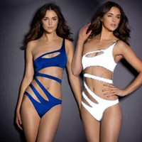 Wholesale Blue Bodysuit Women - 2018 New Fashion Sexy Swimwear Women Bandage Swimsuit One Piece Swimming Bathing Suit Bodysuit White, Blue 67