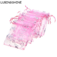 Wholesale butterfly wedding package resale online - Lubingshine Organza Bag Butterfly Design Wedding Gift Pouches Jewelry Packaging Bags Mix Color x9cm