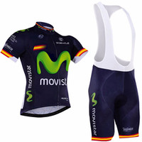 Wholesale bib shorts tops blue for sale - Group buy Movistar Cycling Clothing pro team MTB bike Men Cycling jersey Wear bib shorts set Short sleeve cycle Top shirts breathable sportswear