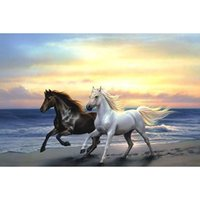 Wholesale painting black horses resale online - Two horses galloping at the seaside D diamond painting square diamond pattern