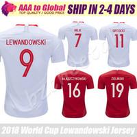 Wholesale name shirts - Lewandowski Soccer Jersey 2018 football shirts Polska maillot de foot Blaszczykowksi Piszczek Grosicki Koszulki football Custom name
