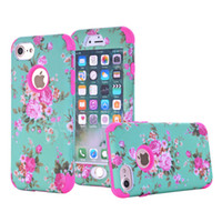 Wholesale Hybrid Flower Case - Defender Hard Full Cover Phone Case For iPhone X 8 7 Plus Samsung S9 Note8 ShockProof Hybrid PC & Silicone With Beautiful Flowers 5Colors