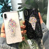 caixa de telefone líquido 3d venda por atacado-3d dinâmica pink ice cream phone case para iphone 6 case 6 além de adorável líquido quicksand tampa do telefone para iphone 7 x case 7 8 além de