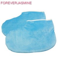Wholesale heat socks - FOREVERJASMINE 1pair Blue Paraffin Wax Treatment Warm Cotton Sock Moisturizing Heating Wax Boot Whitening Paraffin Skin Therapy Pedicure