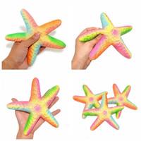 Wholesale Starfish Cartoon - Jumbo Starfish Squishy Slow Rising Squeezing Toys Cartoon Rainbow Starfish Toy Cute Soft Kids Decompression Toy GGA350 50pcs