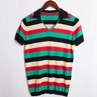 Wholesale Knit Striped Shirt - Men Striped Casual Polo Shirts Cotton Color Short Sleeve Knitted Polo Turn-down Collar Male Polo Shirt Tops