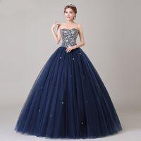 ingrosso abito blu angelo-ANGEL NOVIAS Abito lungo da ballo Puffy Plus Size Blu Navy Prom Dress 2018