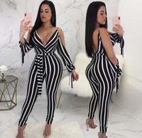 yaz seksi tulumlar toptan satış-Moda Çizgili Uzun Tulum Tulumlar Yaz Yeni Kadın Seksi Derin V Boyun Bölünmüş Uzun Kollu Ince Bodycon Pantolon Tulum