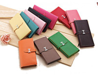 Wholesale long chocolate online - 2018 Fashion long Money Wallet H buckle lady Hand Bag Purse Style High and simple and generous