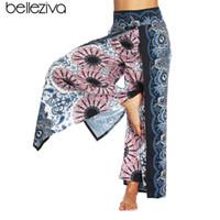 перья леггинсы оптовых-Belleziva Feather Printed High Waistband Pocket Harem Loose Yoga Leggings Lounge  Workout Pants Bloomers  Trousers