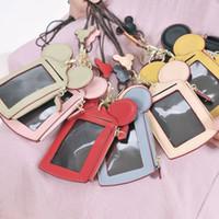porte-monnaie rose pour enfants achat en gros de-Rose Lanyard Neck Strap Card Bag Cartoon Oreille Lettre Happy Dream Porte-monnaie Porte-monnaie Sac à main Nom Carte de Crédit ID Sac pour Enfants Adultes 7 Couleurs