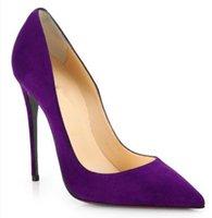 ingrosso scarpe nere di scarpe da donna-Scarpe di marca scamosciata rosso nero tacchi alti nuovi polpastrelli tacchi alti squisiti signore scarpe da sposa festa di moda rossa + logo + scatola di imballaggio
