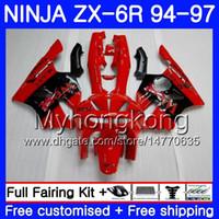 1997 carenados de kawasaki al por mayor-Cuerpo para KAWASAKI NINJA ZX 636 600CC ZX6R 94 95 96 97 213HM.5 ZX600 ZX636 ZX6R 94 97 ZX-6R fábrica Rojo oeste 1994 1995 1996 1997 1997 Carenados
